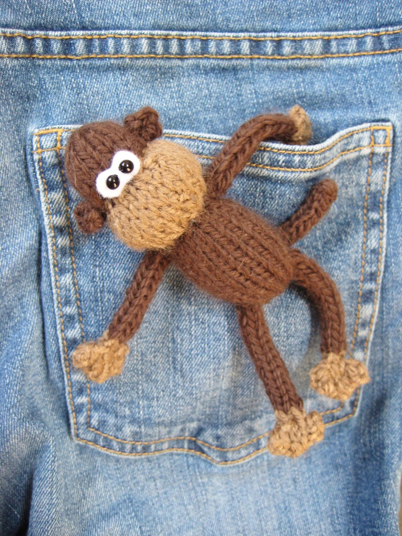 Pocket Monkey Toy Knitting Pattern on Luulla